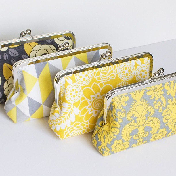 yellow and grey cotton print clutch purse