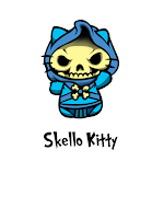 Hello Kitty in Skeletor costume