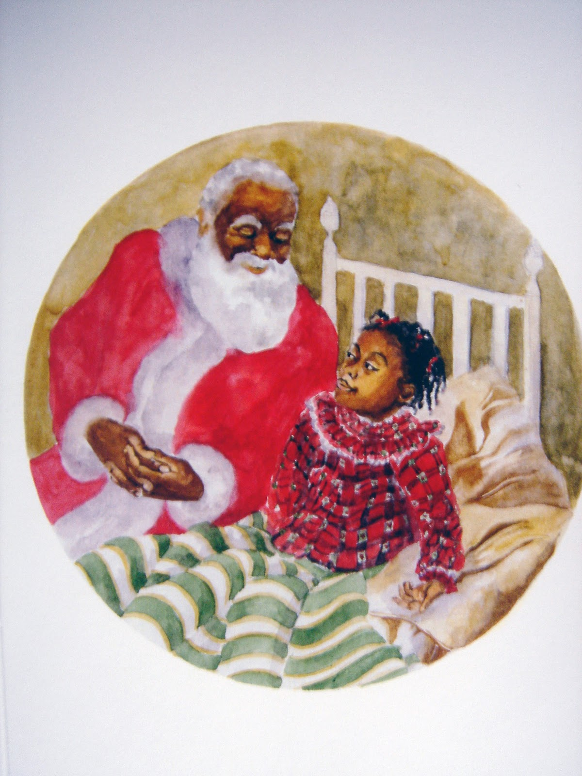 Renees blog christmas cards shes a bit scared and shy santa sits down to comfort her he is telling her the christmas story inside the card says kristyandbryce Image collections