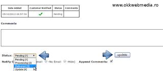Schimbare status comanda produs in zencart. Tutorial OWM.