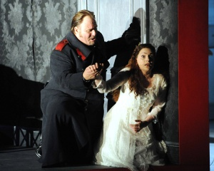 Carl Tanner (Herman) & Anne Sophie Duprels (Lisa), Queen of Spades - Grange Park Opera 2012 (Photography: Alastair Muir)