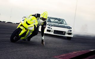 Mazda RX7 Drift vs. Motorcycle HD Wallpaper