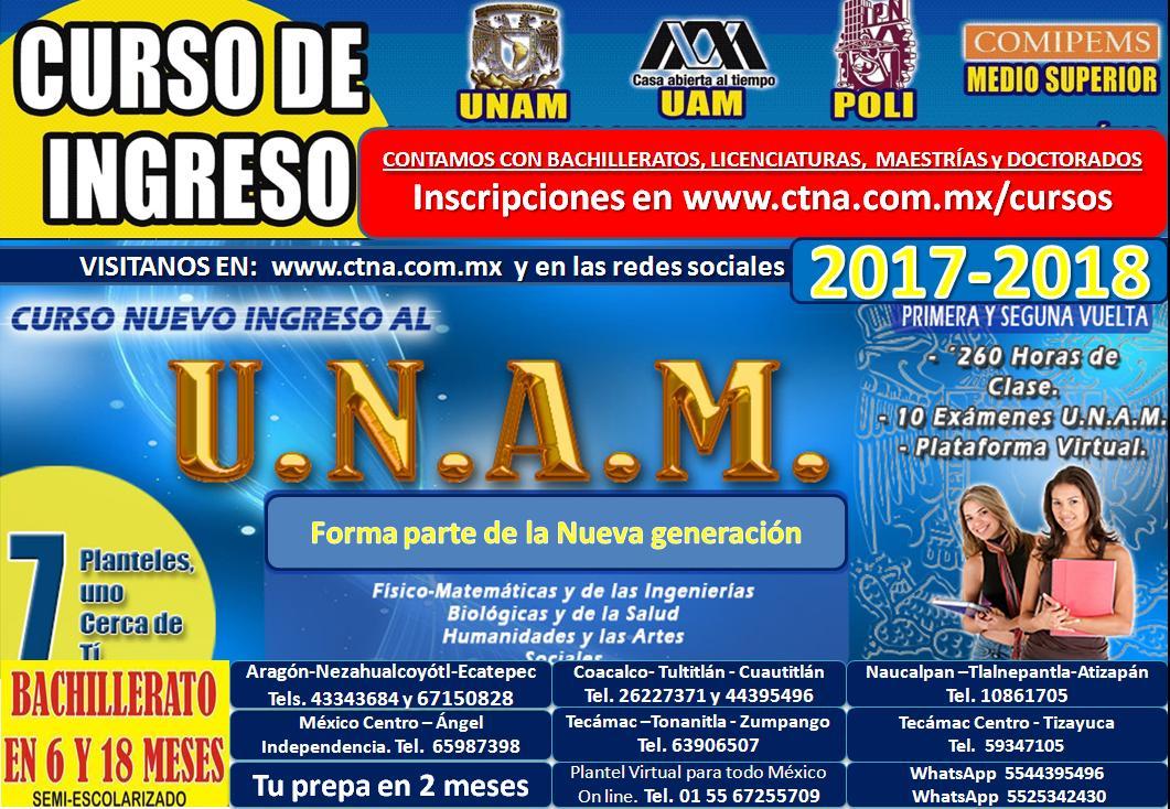 Curso Unam 2017. Curso Ingreso Unam 2017-2018,  primera vuelta Unam 2017, segunda vuelta Unam 2017
