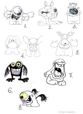 sketches of cute and funny monsters (aliens) characters (concept drawings)