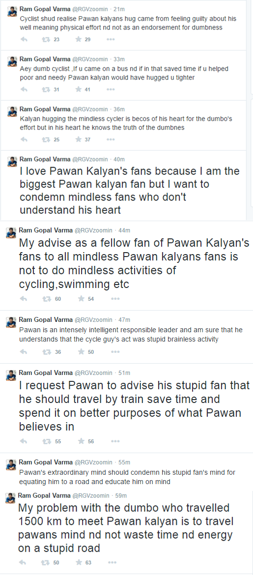 Ram Gopal Varma and Pawankalyan tweets