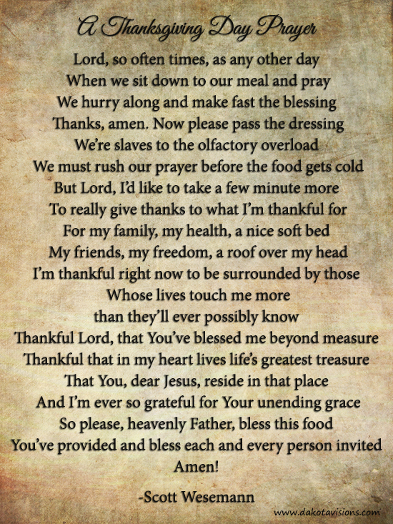 From the Dakota Visions Photography family: A Thanksgiving Day Prayer by Scott Wesemann