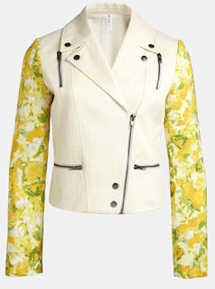 Mural Mixed Media Moto Jacket Yellow