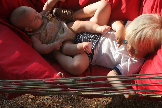 Anton and Neve in a hammock.