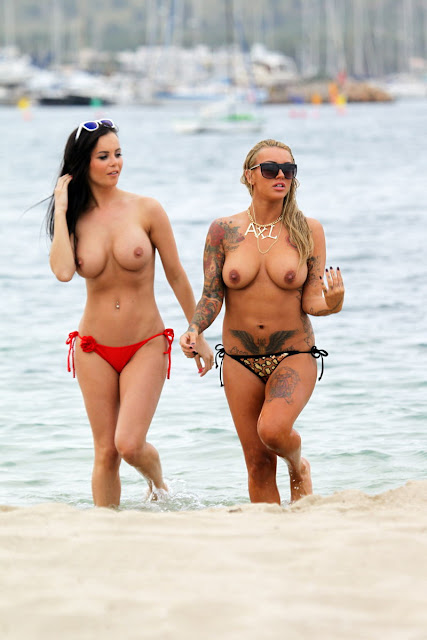 Sallie Axl And Emma Glover Topless At The Beach In Majorca