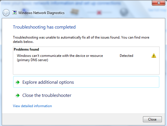 Windows can't communicate with the device or resource