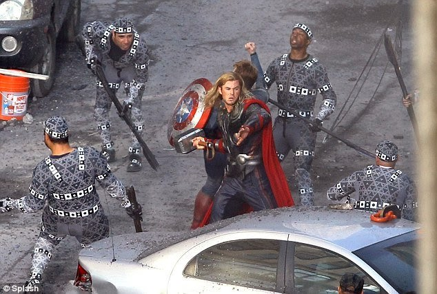 Thor battles the Chitauri at the intersection of E. 9th and Euclid.