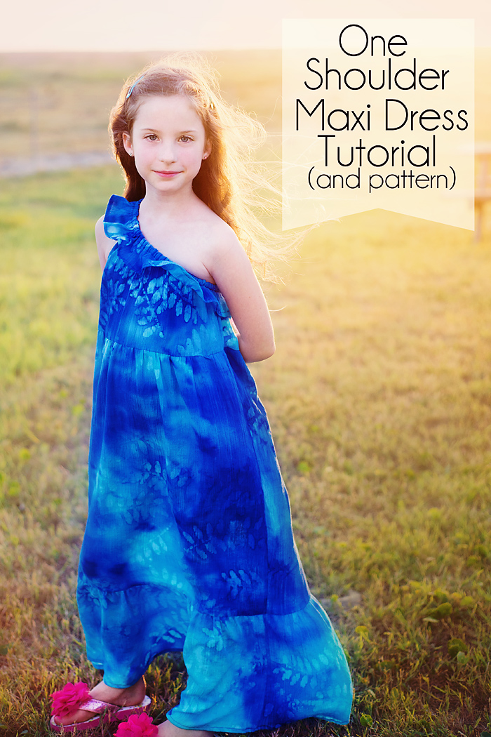 One Shoulder Ruffle Maxi Dress Tutorial and Pattern (free)