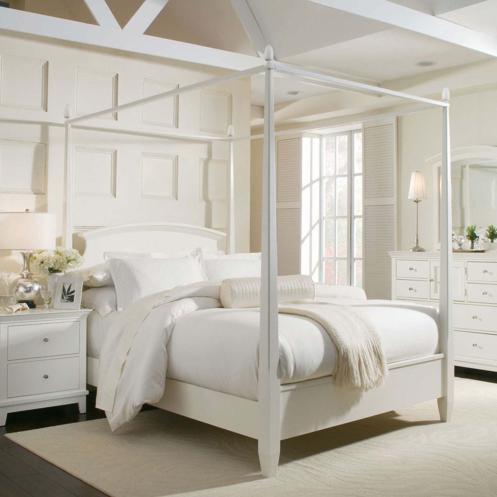 Bedroom White Bed with Canopy