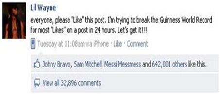 fbLike2 Inilah Status Facebook Yang Mendapat Like Terbanyak di Dunia