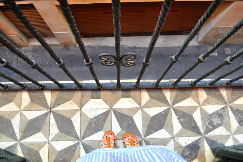 Tiled balcony from the Palau Sa Font Hotel