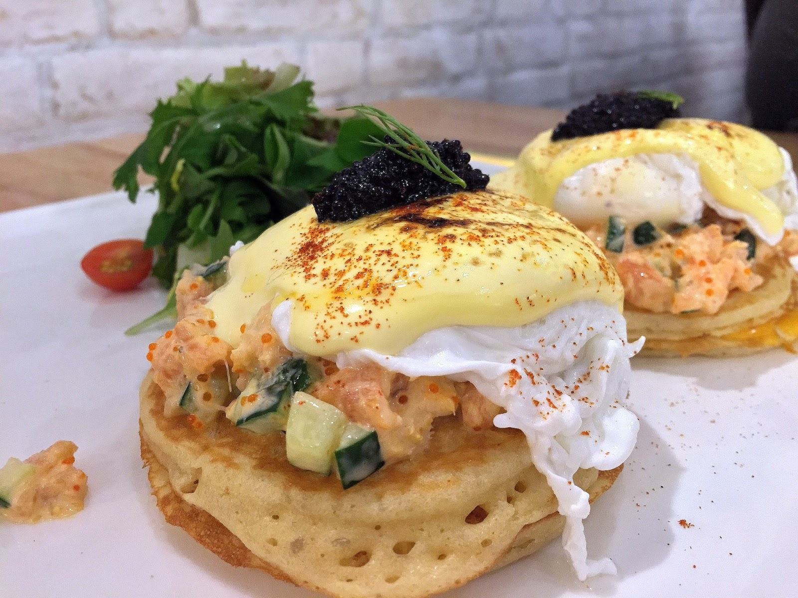 Salmon, Crab & Caviar Eggs Benedict at The Udder Pancake