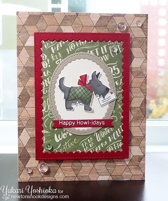 Happy Howl-idays Card by Yukari Yoshioka | Canine Christmas Stamp set by Newton's Nook Designs #newtonsnook