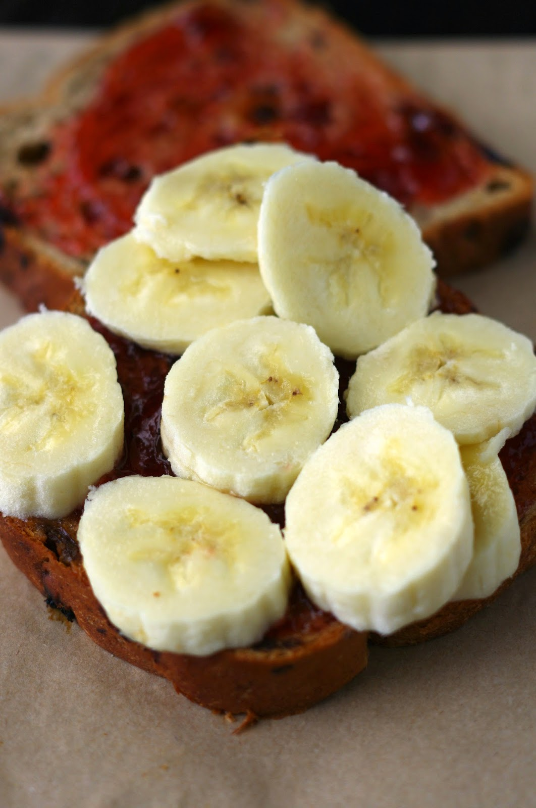 Sweet banana and jam toastie