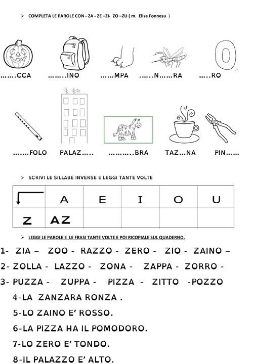 Amato matiteinvolo: Esercizio di consolidamento : la consonante Z RU68