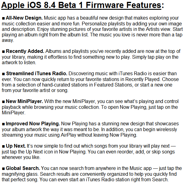 Apple iOS 8.4 Beta (12H4074d) Features and Changes