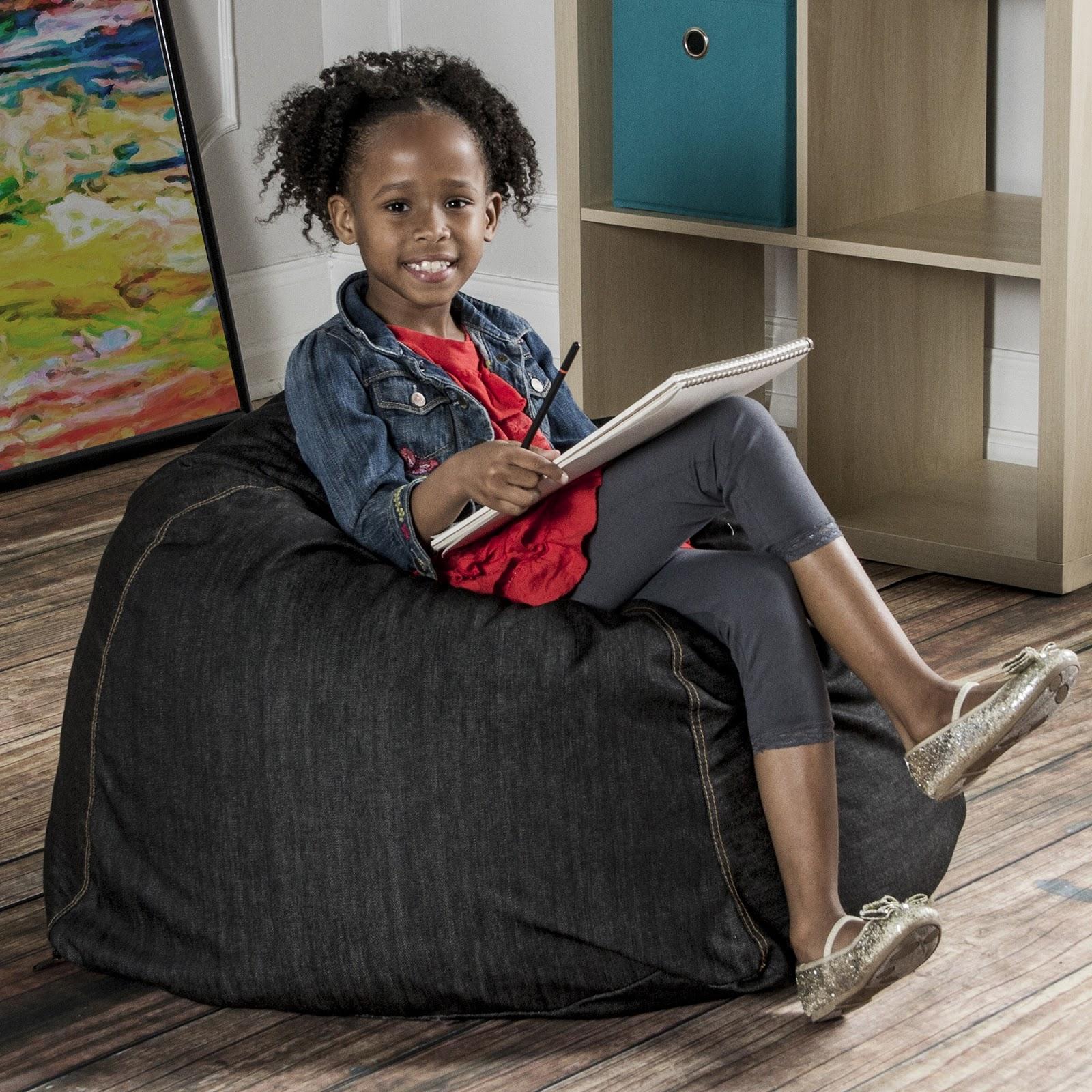 Black child sitting in chair - Jaxx Kid Club Junior The Ideal Bean Bag Chair For Kids