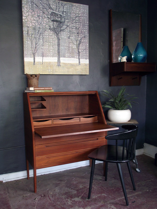 Vintage Ground Danish Modern Mid Century Secretary Desk