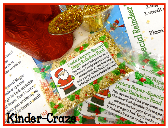 "Reindeer Food Kit with letter from Santa, ""Top Secret Recipe"" and zipper bag labels - only $1"