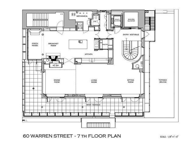 Floor plan of seventh floor of Tribeca penthouse