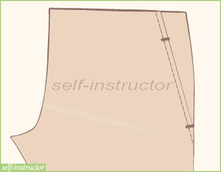 италиански джоб на панталон - лицев шев на 1 краче