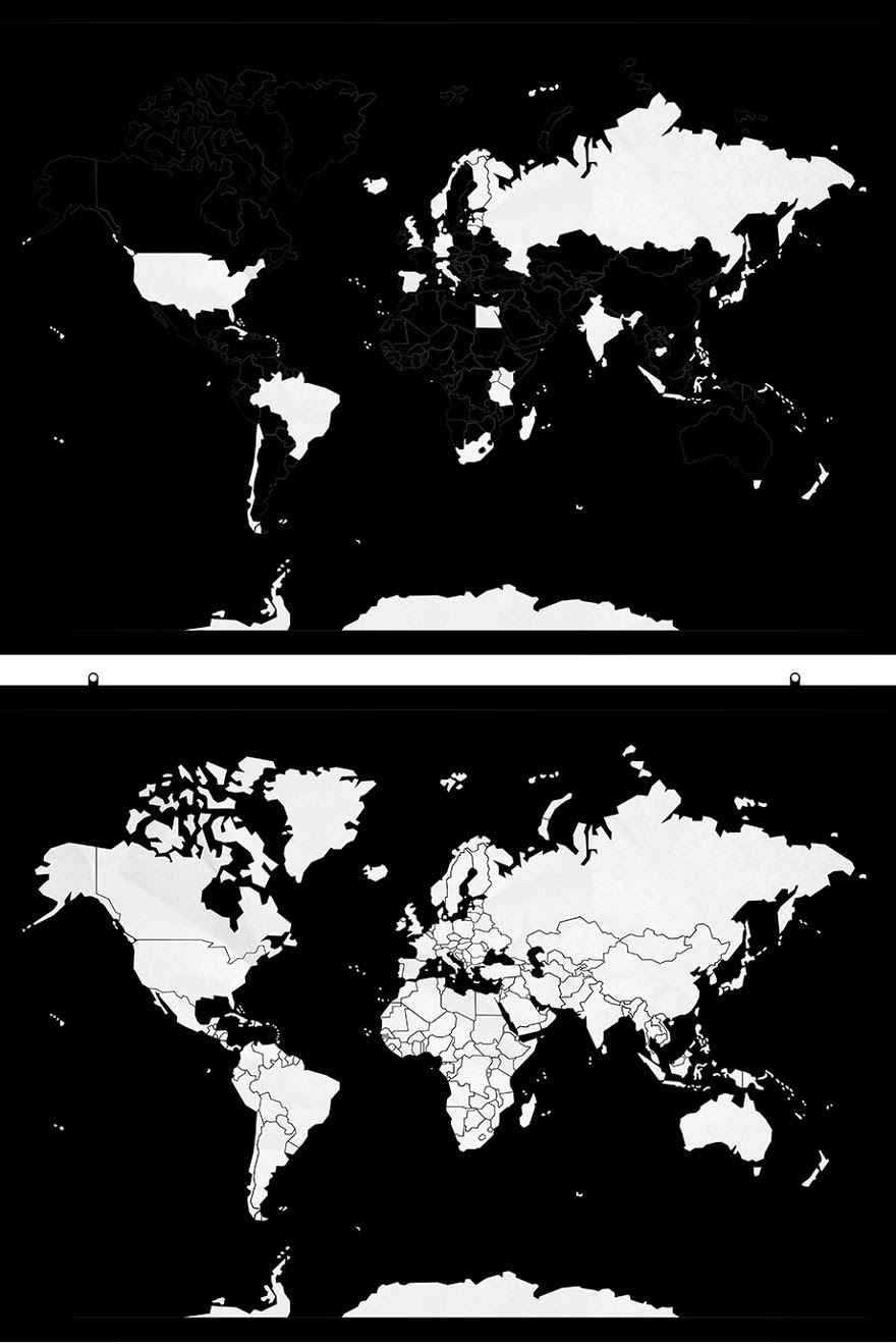 Minimalist World Map Helps Keep Track Of Countries Youve