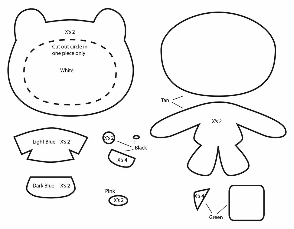 How to Make an Adventure Time Finn plushie template tutorial