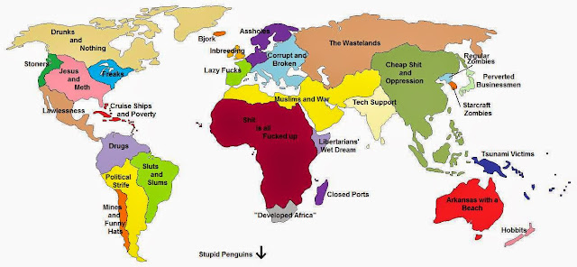 Stereotype map of the world