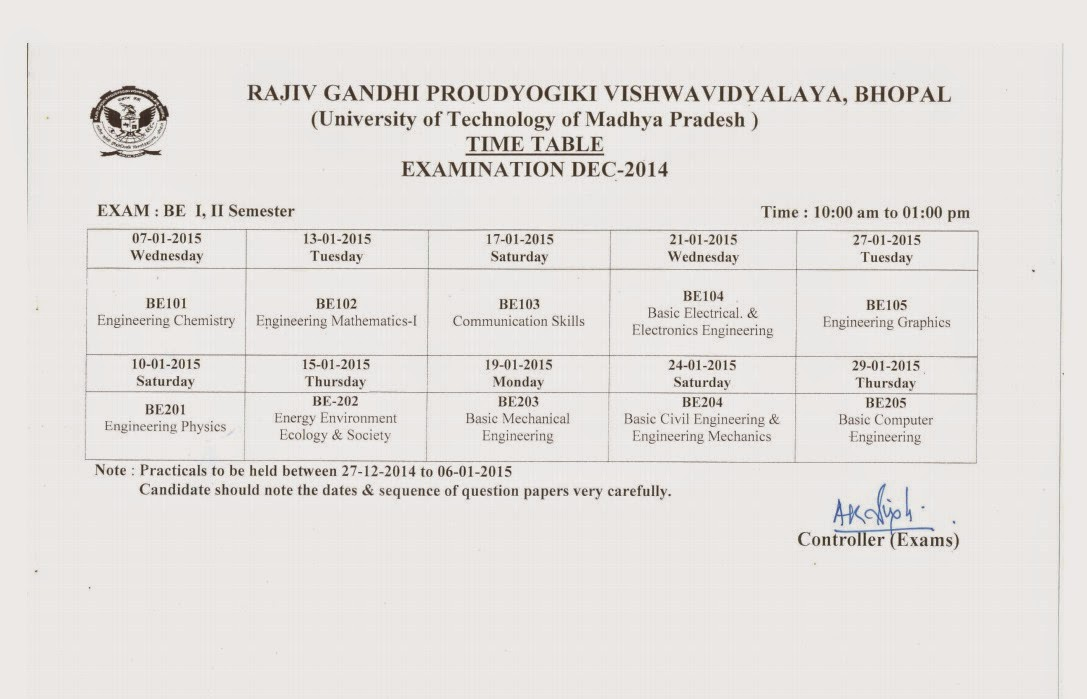 Rajiv gandhi proudyogiki vishwavidyalaya rgpv b e 2nd sem for Rgpv time table 6th sem 2015