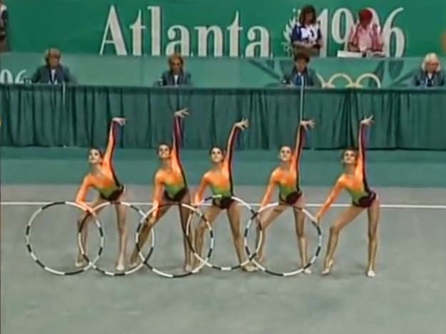 Final de gimnasia rítmica por equipos, Atlanta 96, Tania Lamarca, Estela Giménez, Estíbaliz Martínez, Marta Baldó, Nuria Cabanillas, Lorena Guréndez