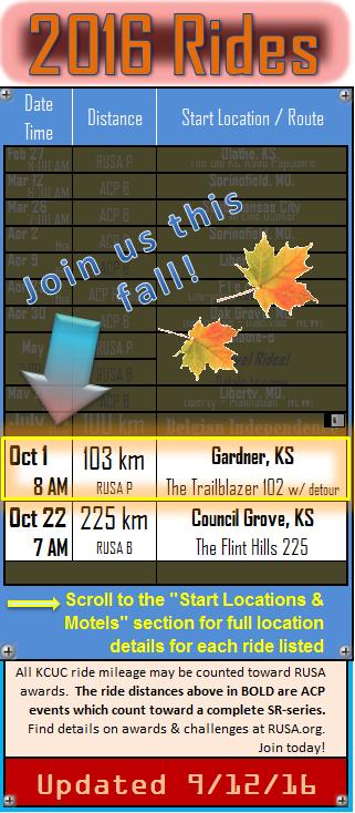 KCUC Brevet Schedule