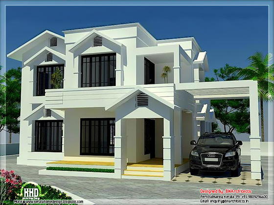 1944 sloping roof home with 4 bedroom kerala home for Sloped roof house plans in india