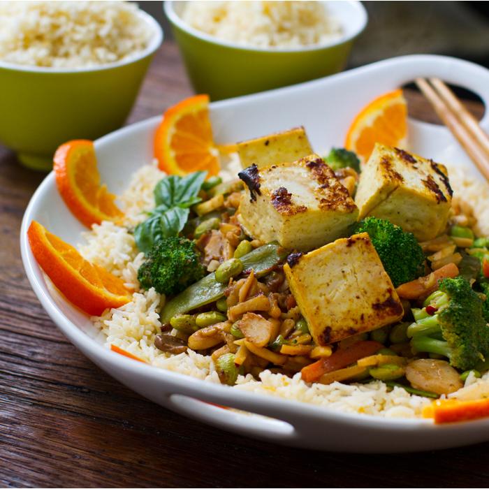 Ginger Peanut Coconut Veggie & Tofu Stir-Fry over Rice.