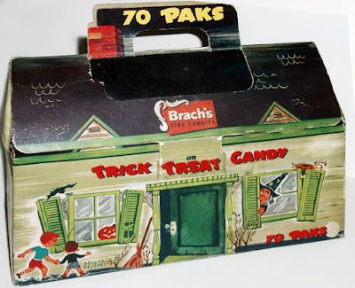 Trick or treat carry-cases design from the 50's feature campy art of old green house with witch, bat, and Jack O'Lantern.