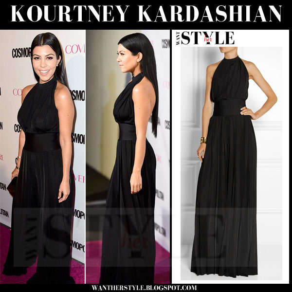 Kourtney Kardashian in black halterneck balmain jumpsuit what she wore red carpet