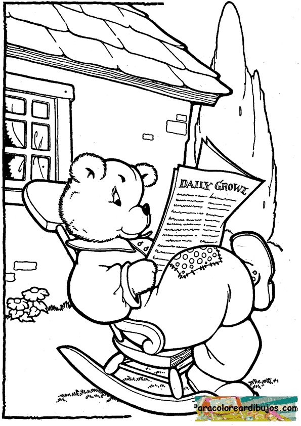 oso papa para colorear