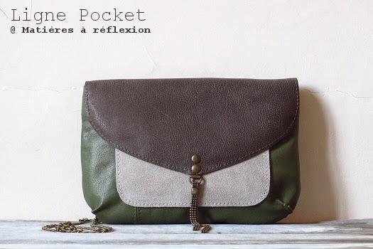 Petit sac en cuir vintage vert gris Matières à réflexion Pocket