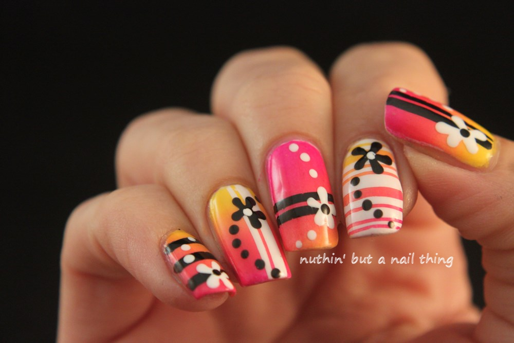 gradient bright nail art design ideas