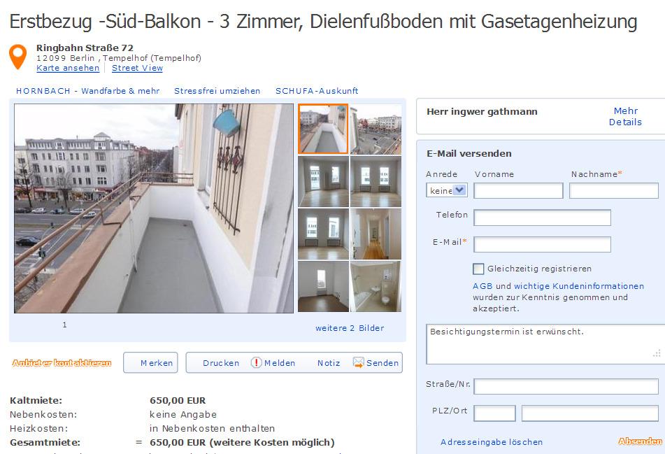 erstbezug s d balkon 3 zimmer dielenfu boden mit gasetagenheizung ringbahn stra e 72 12099. Black Bedroom Furniture Sets. Home Design Ideas