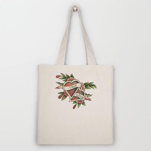 sebastian orth - traditional tattoo style true love tote bag