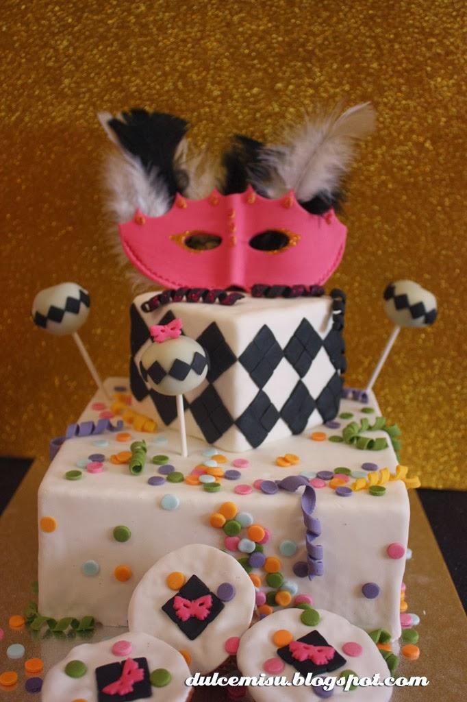 tarta, carnaval, fondant, dulcemisu, cakepop, cupcake, mascara, dummie