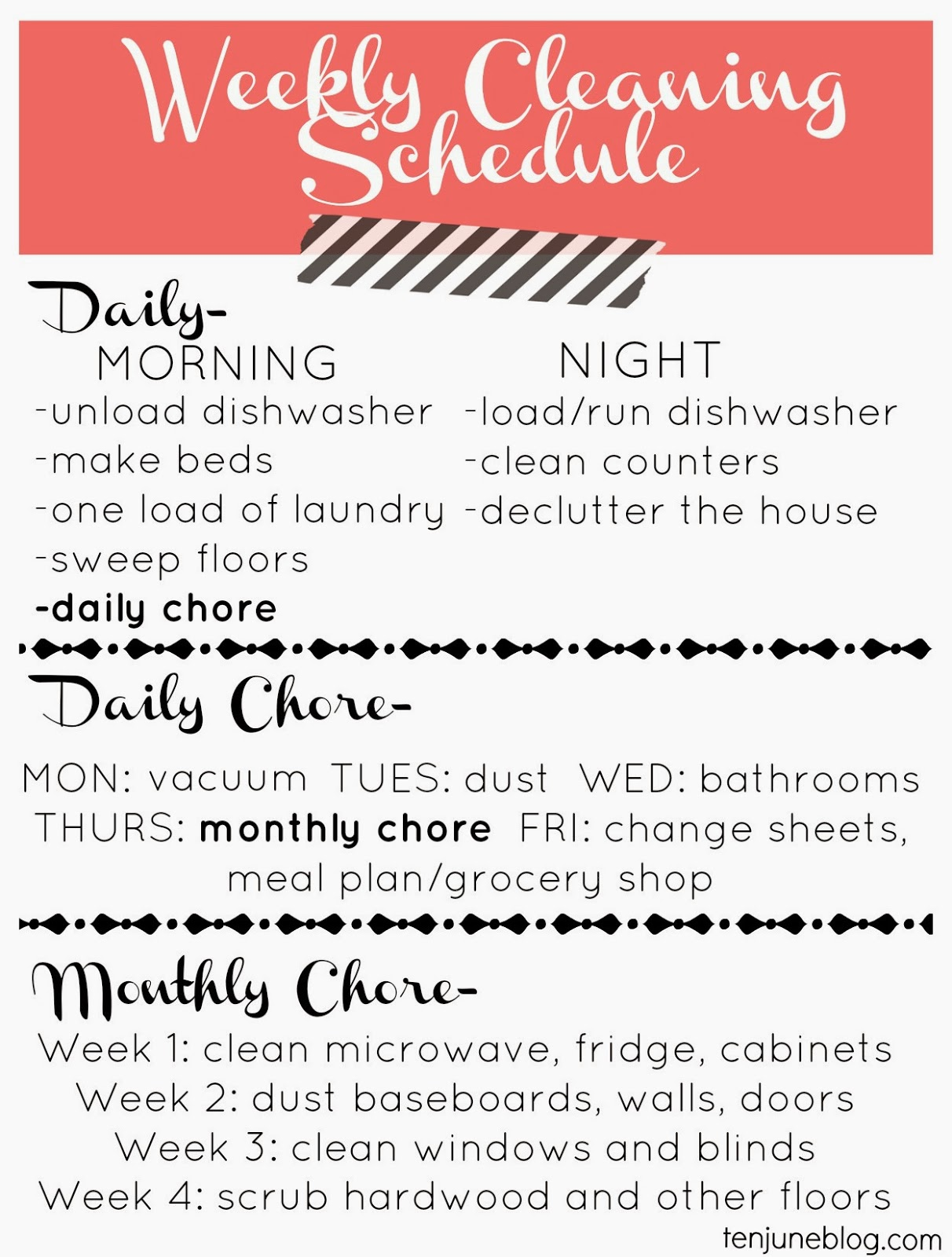 house cleaning weekly schedule for cleaning house. Black Bedroom Furniture Sets. Home Design Ideas