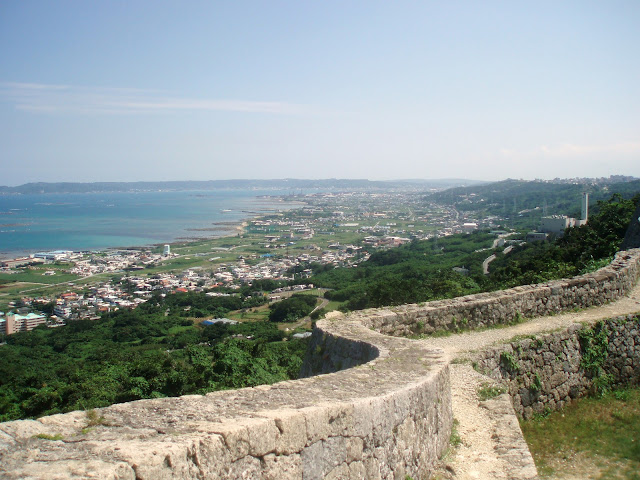 view from nakagusuku castle ruins on okinawa
