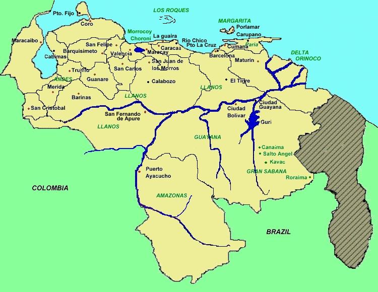 Imagen de mapa de venezuela con sus limites - Imagui