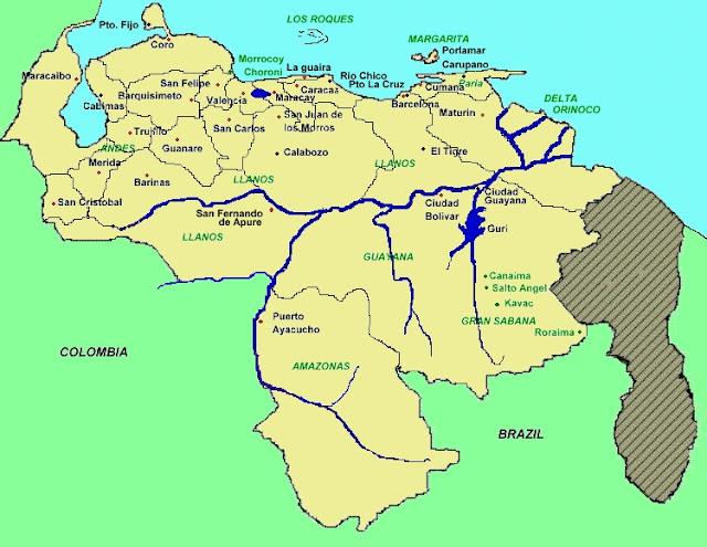 mapa de venezuela y sus limites