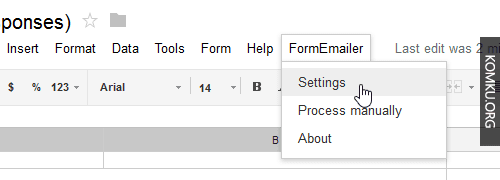 Google Drive FormEmailer Settings